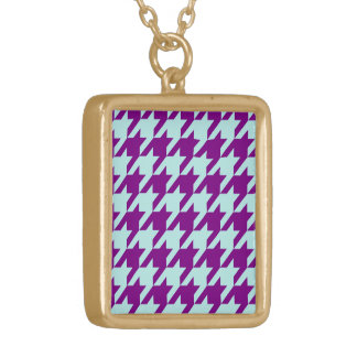 houndstooth 2 purple gold plated necklace