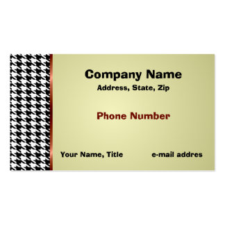 Houndstooth and Red Satin Ribbon Business Card Template