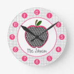 Houndstooth Apple personalizado registra para los  Reloj De Pared