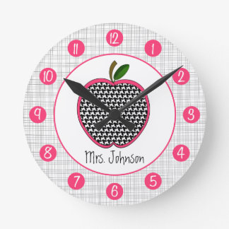 Houndstooth Apple Personalized Clock For Teachers