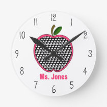 Houndstooth Apple Teacher Clock