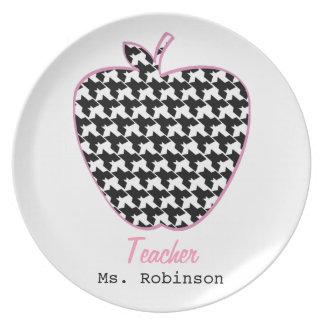 Houndstooth Apple Teacher Dinner Plate