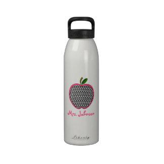 Houndstooth Apple Teacher Water Bottle