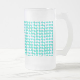 Houndstooth AQUA ANY COLOR BACKGROUND Frosted Glass Beer Mug