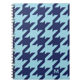 Houndstooth azul moderno intrépido con el monogram libro de apuntes