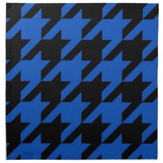 Houndstooth azul y negro modelado servilletas imprimidas