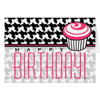 Houndstooth Birthday Card with Pink Cupcake
