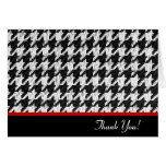 Houndstooth black and white thank you card
