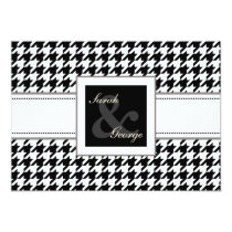 houndstooth black and white wedding invites