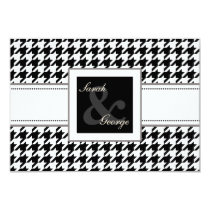 houndstooth black and white wedding rsvp 3.5 x 5 card