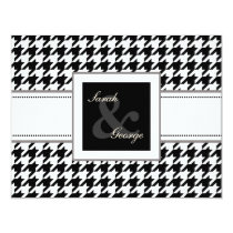 houndstooth black and white wedding rsvp card