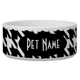 Houndstooth Black White Personalized Pet Food Bowl