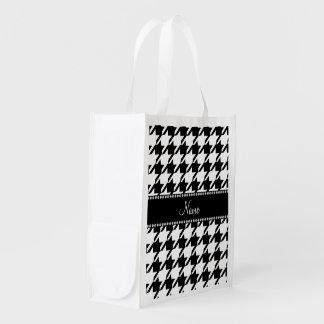 Houndstooth blanco conocido personalizado bolsas reutilizables