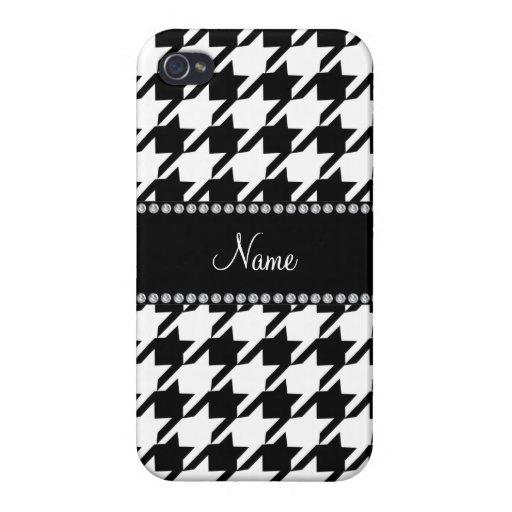 Houndstooth blanco conocido personalizado iPhone 4/4S fundas