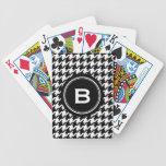 Houndstooth blanco y negro clásico con el monogram baraja cartas de poker