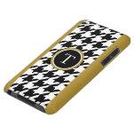 Houndstooth blanco y negro clásico con el monogram Case-Mate iPod touch carcasas