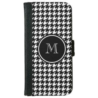 Houndstooth blanco y negro su monograma funda cartera para iPhone 6