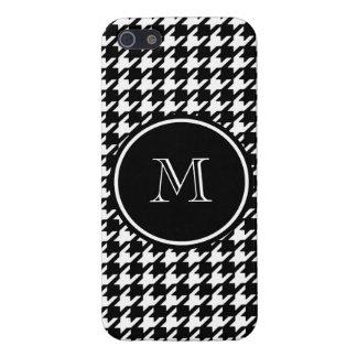 Houndstooth blanco y negro su monograma iPhone 5 protector