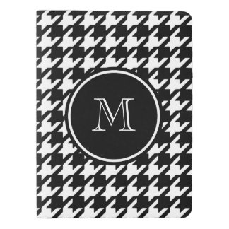 Houndstooth blanco y negro su monograma funda para libreta y libreta extra grande moleskin