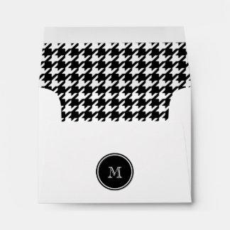 Houndstooth blanco y negro su monograma