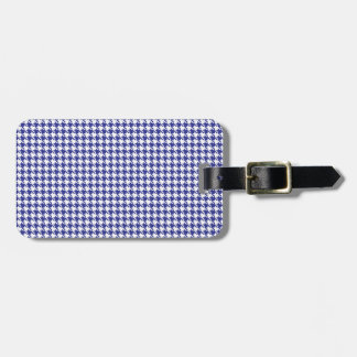 Houndstooth Blue and White Luggage Tag