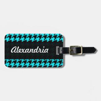 Houndstooth Blue Black Decorative Art Pattern Bag Tags