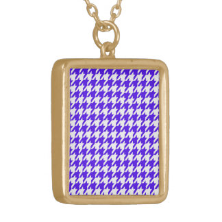 houndstooth blue (I) Gold Plated Necklace