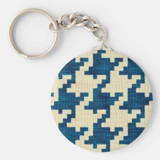 Houndstooth Blues Basic Round Button Keychain