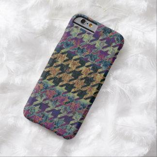 Houndstooth Brown púrpura rústico Funda De iPhone 6 Barely There