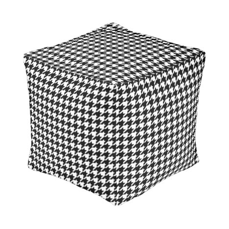 Houndstooth Check Pattern in Black and White Pouf