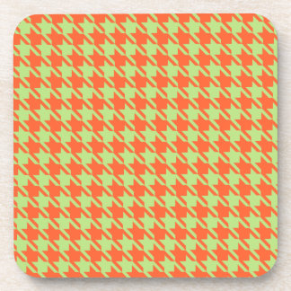 Houndstooth Check Pattern in Green and Orange Beverage Coaster