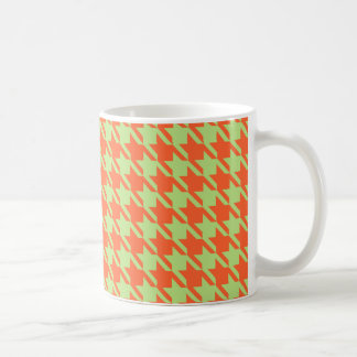 Houndstooth Check Pattern in Green and Orange Coffee Mug