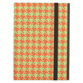Houndstooth Check Pattern in Green and Orange iPad Air Case