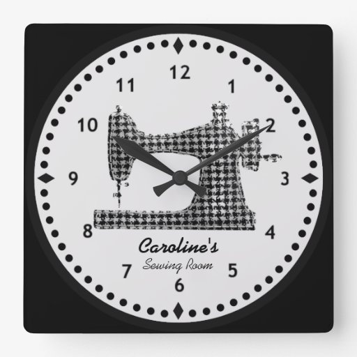 Houndstooth Check Sewing Machine Wall Clock   Zazzle