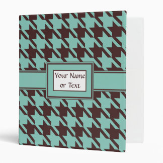 Houndstooth Checks Pattern in Brown and Green 3 Ring Binder