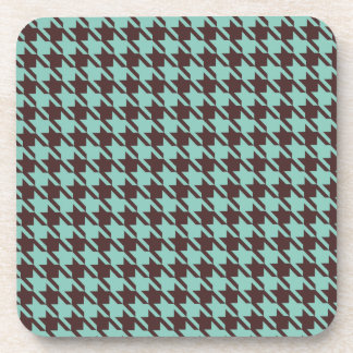 Houndstooth Checks Pattern in Brown and Green Drink Coaster