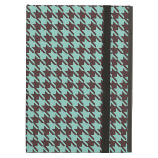 Houndstooth Checks Pattern in Brown and Green iPad Air Cover