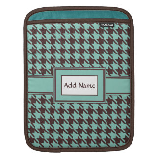 Houndstooth Checks Pattern in Brown and Green Sleeves For iPads