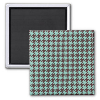 Houndstooth Checks Pattern in Brown and Green 2 Inch Square Magnet
