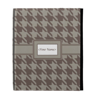Houndstooth Checks Pattern in Grey Browns iPad Folio Cases