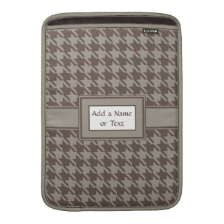 Houndstooth Checks Pattern in Grey Browns Sleeve For MacBook Air