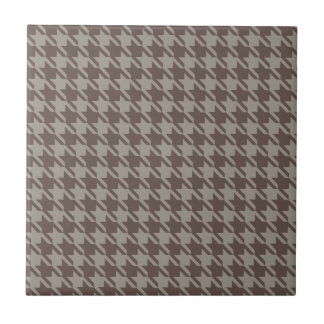 Houndstooth Checks Pattern in Grey Browns Ceramic Tile