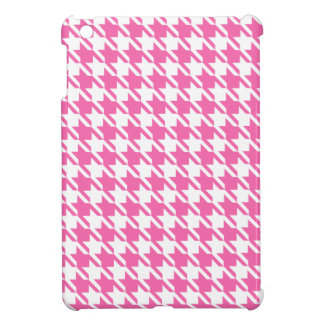Houndstooth Checks Pattern in Pink and White Cover For The iPad Mini