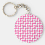 Houndstooth Checks Pattern in Pink and White Keychain