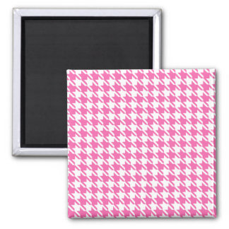 Houndstooth Checks Pattern in Pink and White 2 Inch Square Magnet