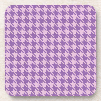 Houndstooth Checks Pattern in Shades of Purple Coaster