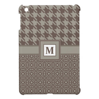 Houndstooth Checks & Tessellation Pattern in Brown iPad Mini Cases