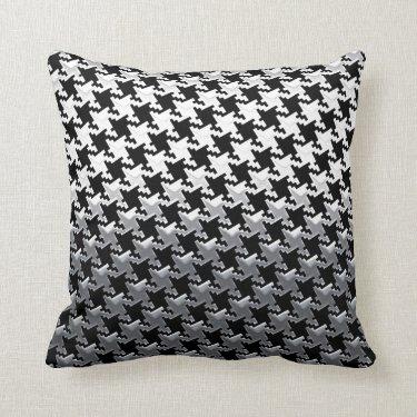 Houndstooth Chrome Mirror on Black Pillow