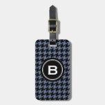 Houndstooth clásico de moda del gris azul con el m etiquetas bolsa