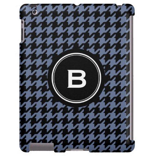 Houndstooth clásico de moda del gris azul con el m funda para iPad